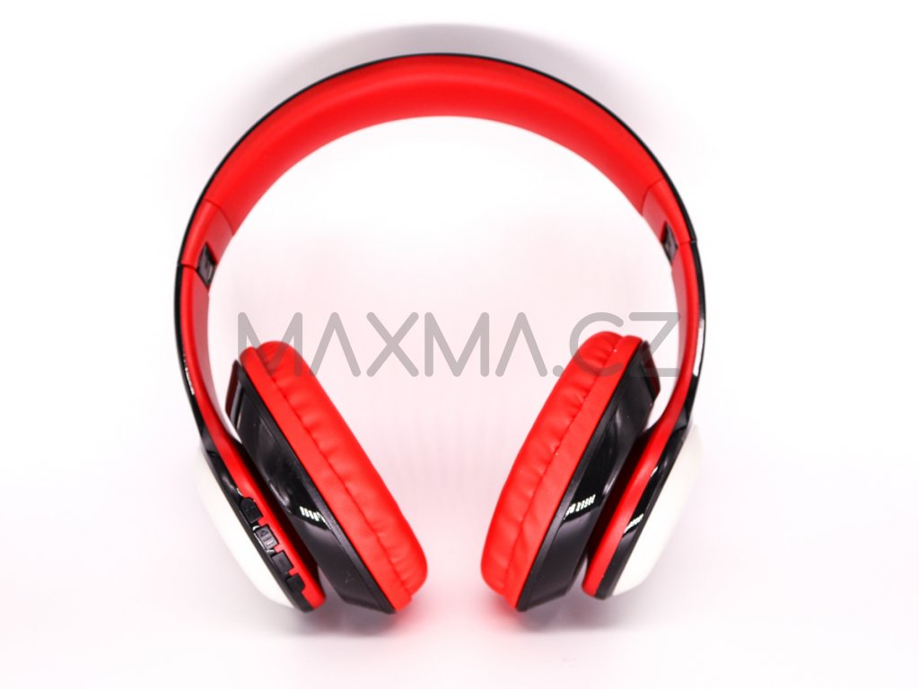 Bezdrátová sluchátka s LED osvětlením (PV57) - červená