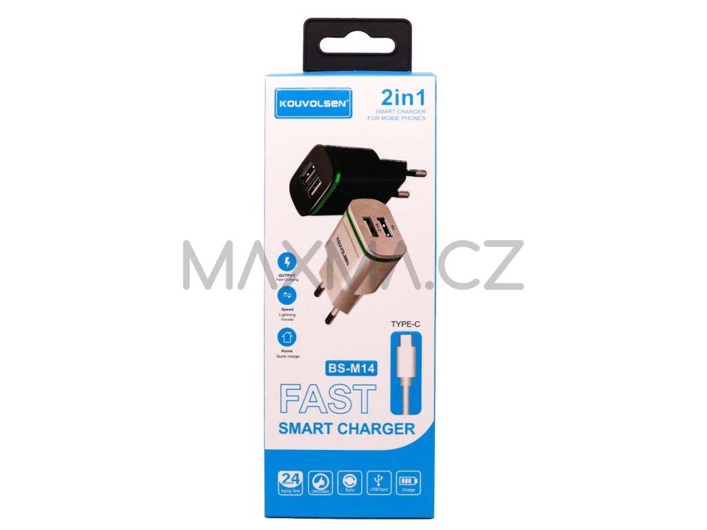 Kouvolsen nabíjecí adaptér na 2 USB + kabel USB-C (BS-M14) - černá