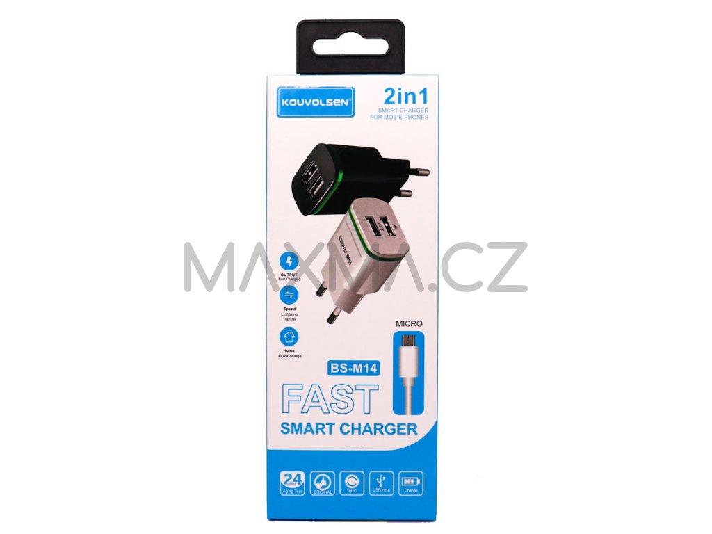 Kouvolsen nabíjecí adaptér na 2 USB + kabel micro-USB (BS-M14) - černá
