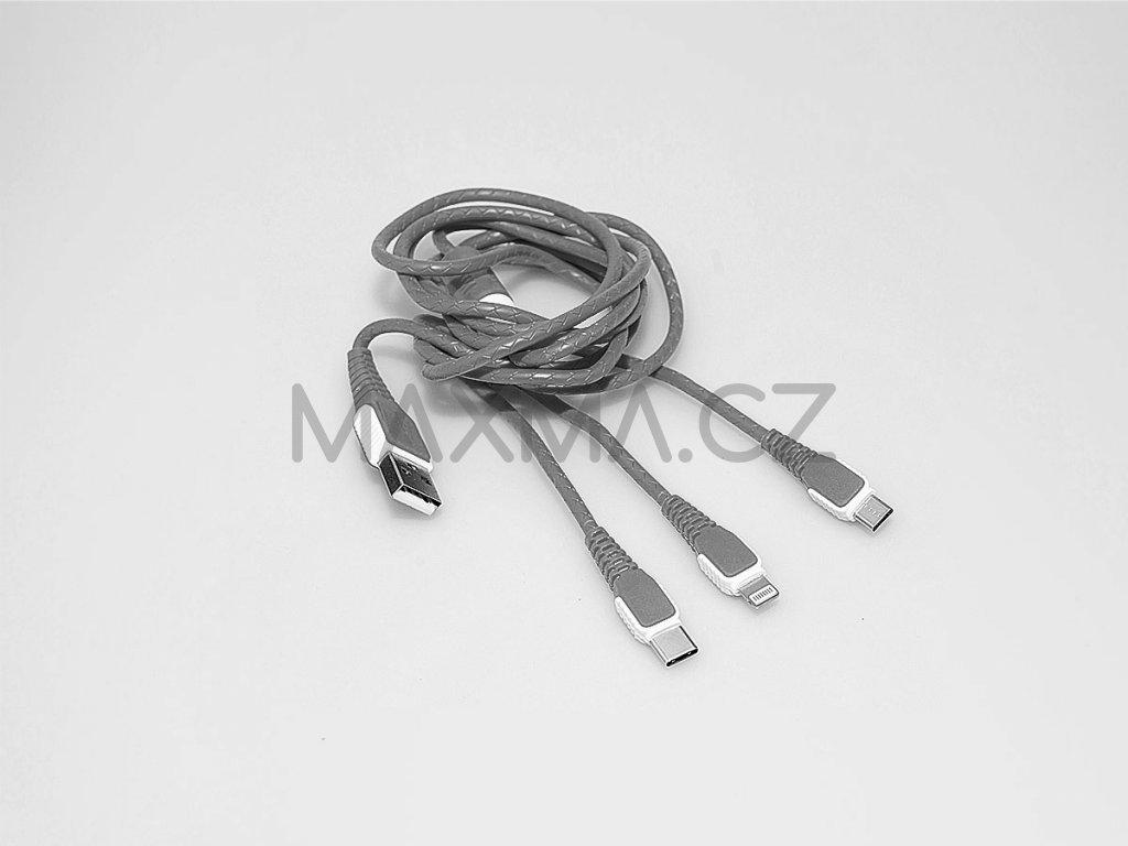 Kouvolsen kabel 3v1 USB na Lightning/USB-C/micro-USB (X25) - šedý