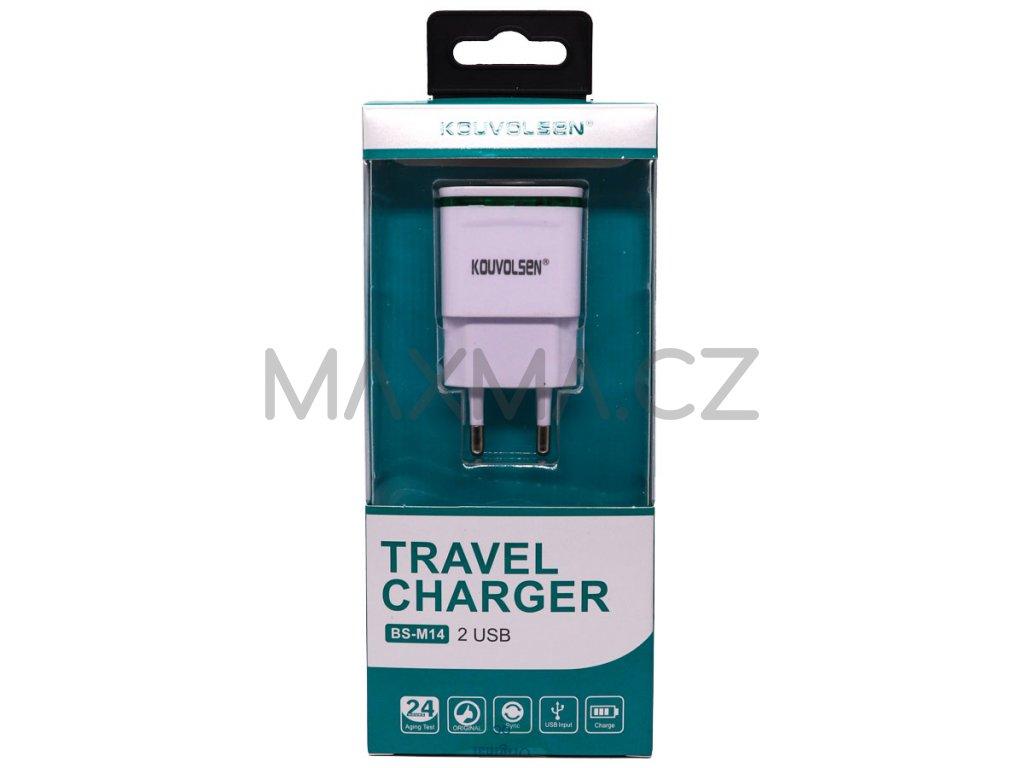Kouvolsen nabíjecí adaptér na 2 USB (BS-M14) - bílý