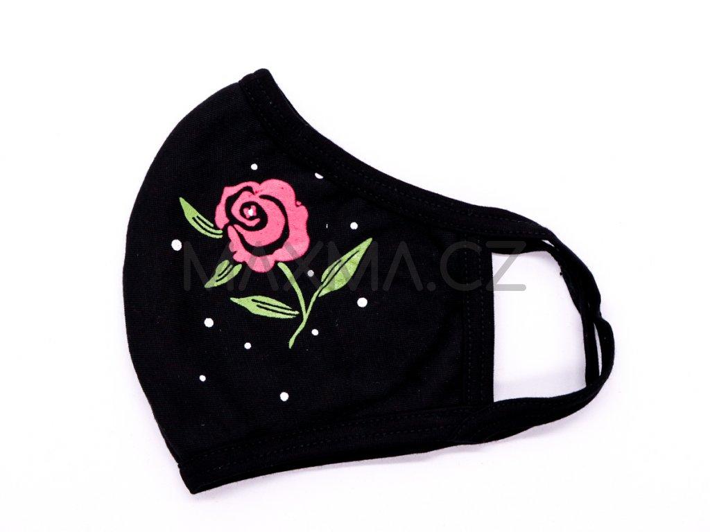 Bavlněná rouška Růže 2