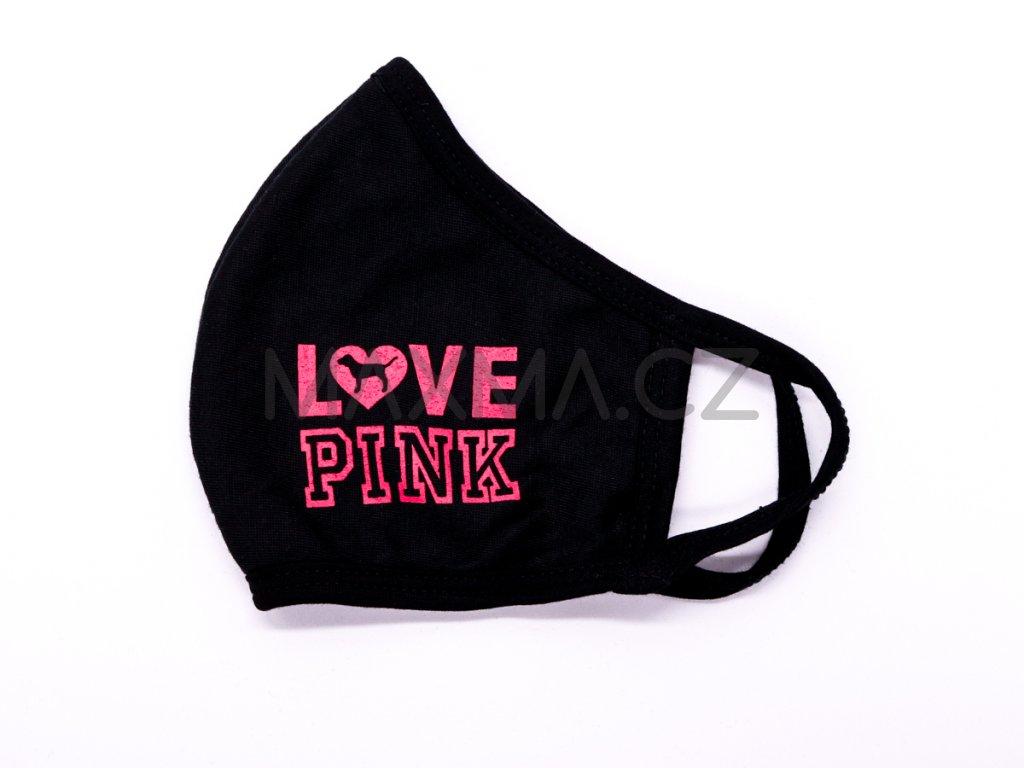 Bavlněná rouška Love Pink