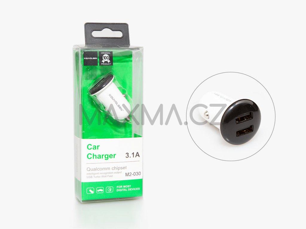 Kouvolsen nabíjecí adaptér do auta na 2 USB (M2-030) - bílá a černá