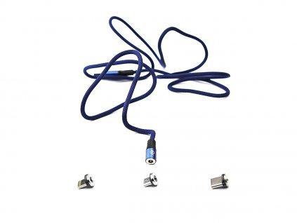 Kouvolsen magnetický kabel 3v1 Lightning/USB-C/micro-USB (X15) - modrý