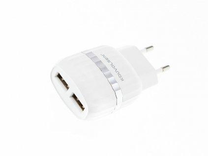 Kouvolsen nabíjecí adaptér na 2 USB + kabel Lightning (CX-39) - bílá