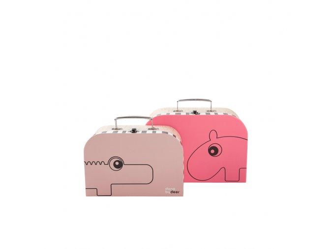 Set kufříků - 2 ks - světle růžová/malinová