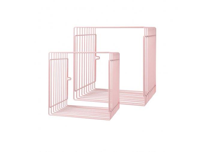 Čtvercová police 2ks - světle růžová