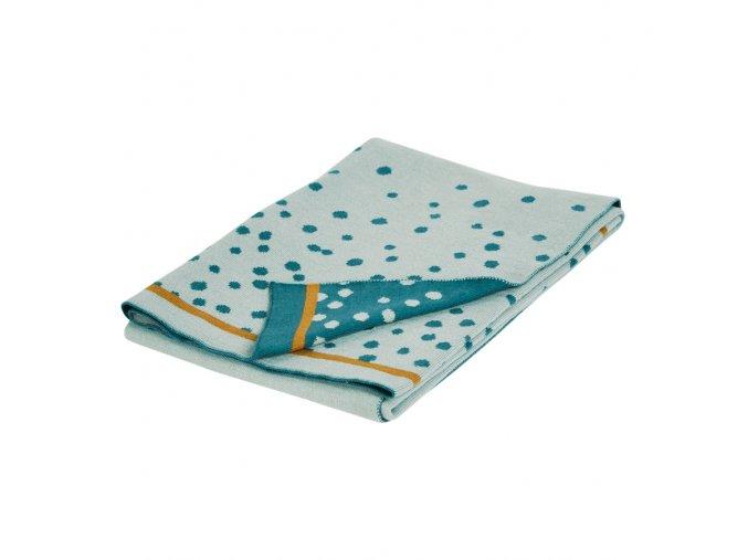Pletená deka Happy dots, modrá