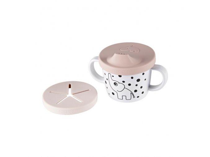Hrníček snack/drink s oušky Happy Dots - růžový