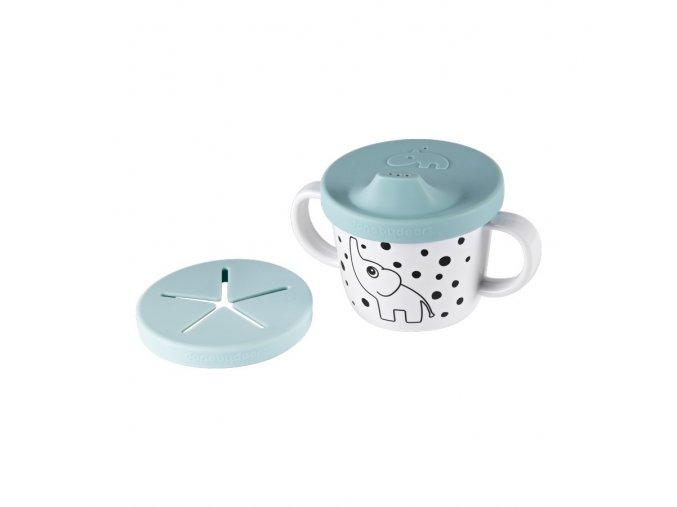 Hrníček snack/drink s oušky Happy Dots - modrý