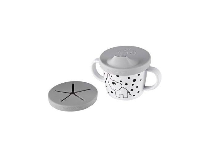Hrníček snack/drink s oušky Happy Dots - šedý