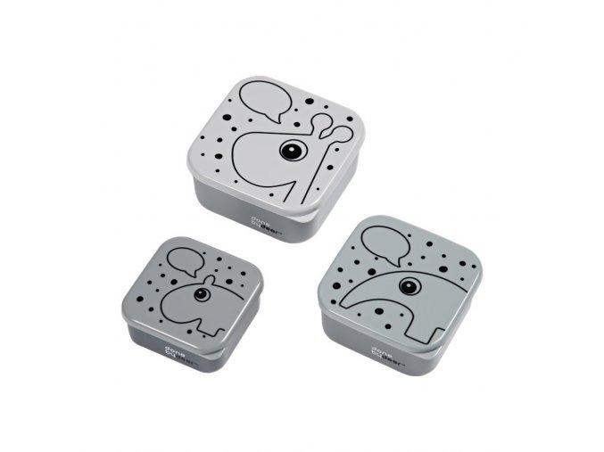 Svačinový box Contour 3ks - šedý