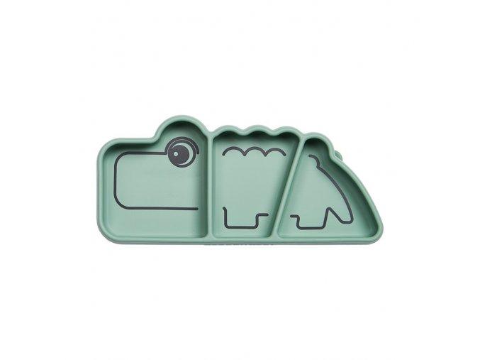 Silikonový protiskluzový talíř Croco - zelený