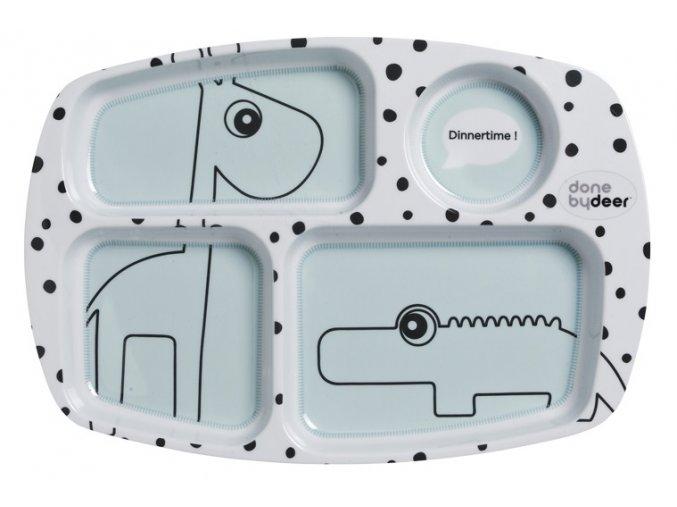 Dělený talíř Happy Dots - modrý