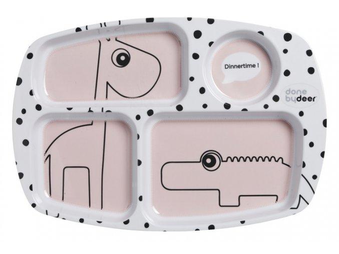 Dělený talíř Happy Dots - růžový