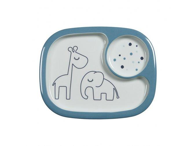 Yummy mini dělený talíř Dreamy dots - modrý