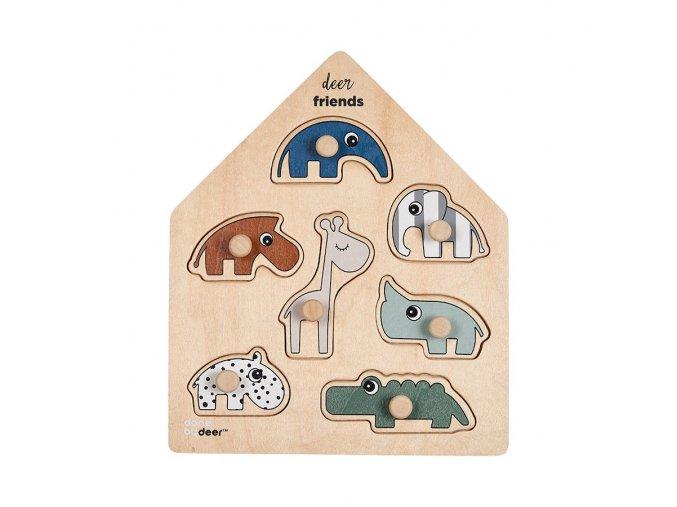 Dřevěné puzzle Deer friends 2