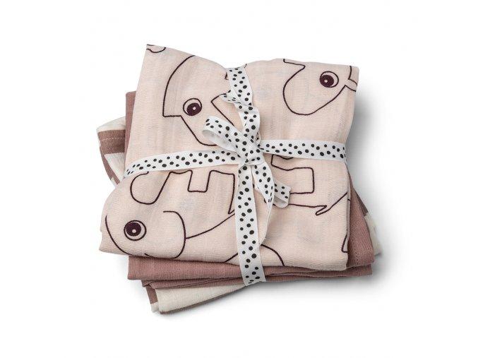 Mušelínové plenky Deer Friends 3ks - růžové