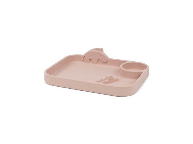 Peekaboo dělený talíř Deer friends - růžový