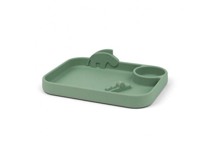 Peekaboo dělený talíř Deer friends - zelený