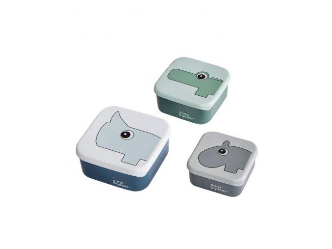 Svačinový box 3ks, modrý