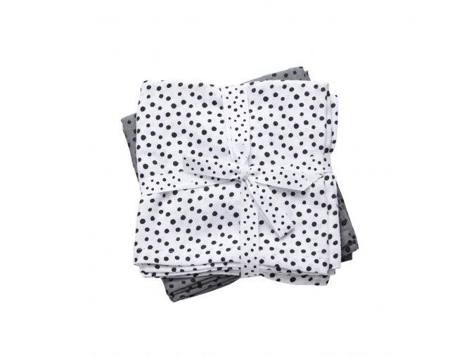 Mušelínové plenky Happy dots 2ks - šedé