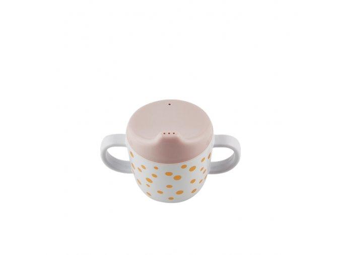 Hrníček Happy Dots s oušky - růžová/zlatá