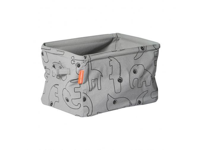 Oboustranný měkký úložný košík - šedý