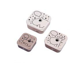 Svačinový box Contour 3ks - růžový