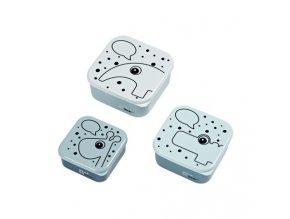 Svačinový box Contour 3ks - modrý