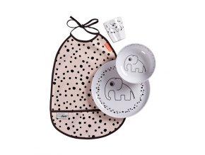 Jídelní set Happy dots - růžový
