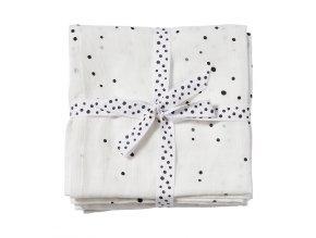 Mušelínové zavinovací plenky Dreamy Dots 2ks - bílé