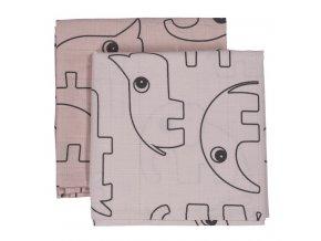 Mušelínové plenky Contour 2 ks - růžová