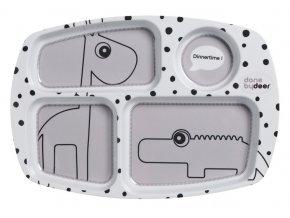 Dělený talíř Happy Dots - šedý