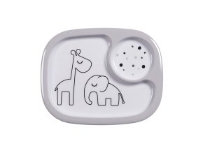 Yummy mini dělený talíř Dreamy dots - šedý