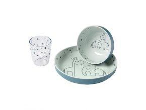 Yummy mini jídelní set Dreamy dots - modrý