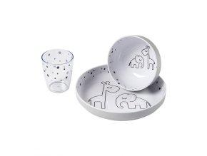 Yummy mini jídelní set Dreamy dots - šedý