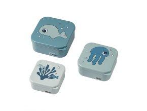 Svačinový box Sea friends 3ks - Blue