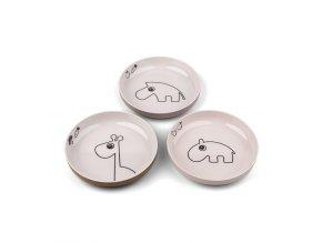 Yummy mini talíř Deer friends 3ks - růžový