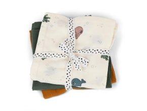 Mušelínové plenky Sea friends 3ks GOTS - colour mix