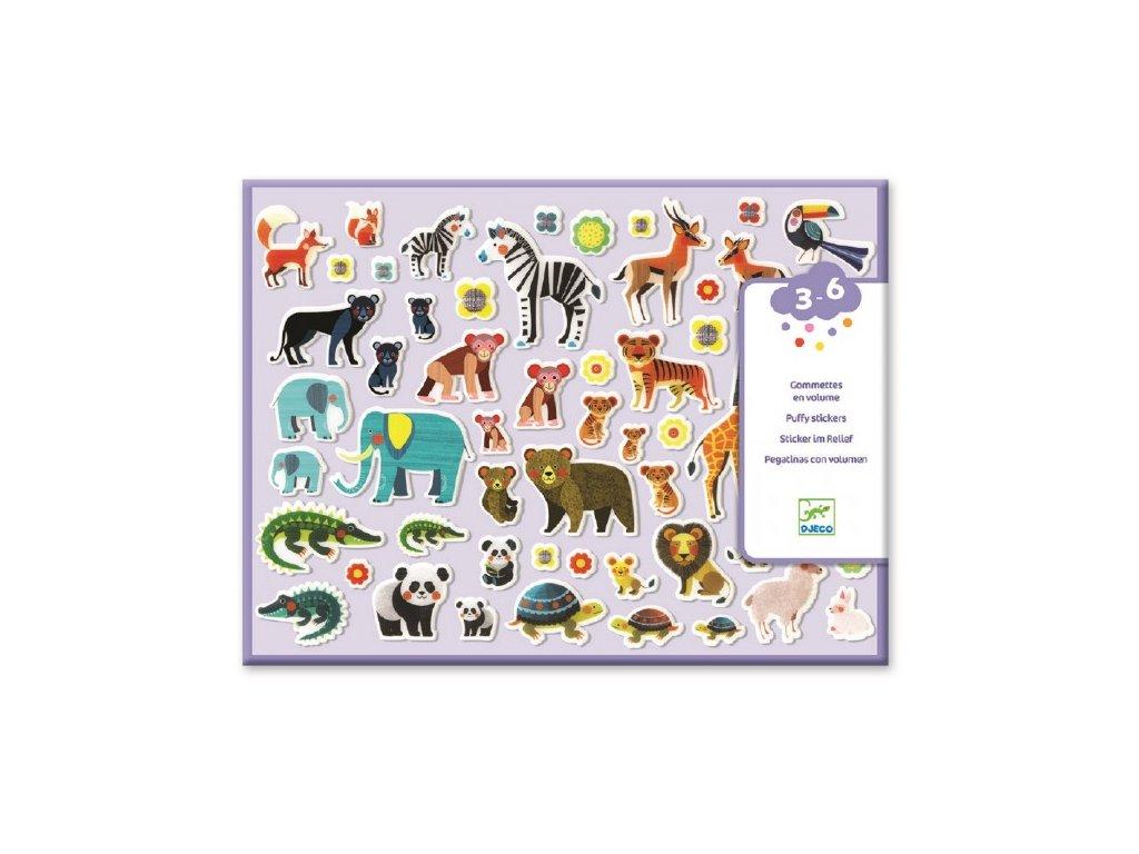 Djeco Set plastických samolepek - Zvířecí rodinky