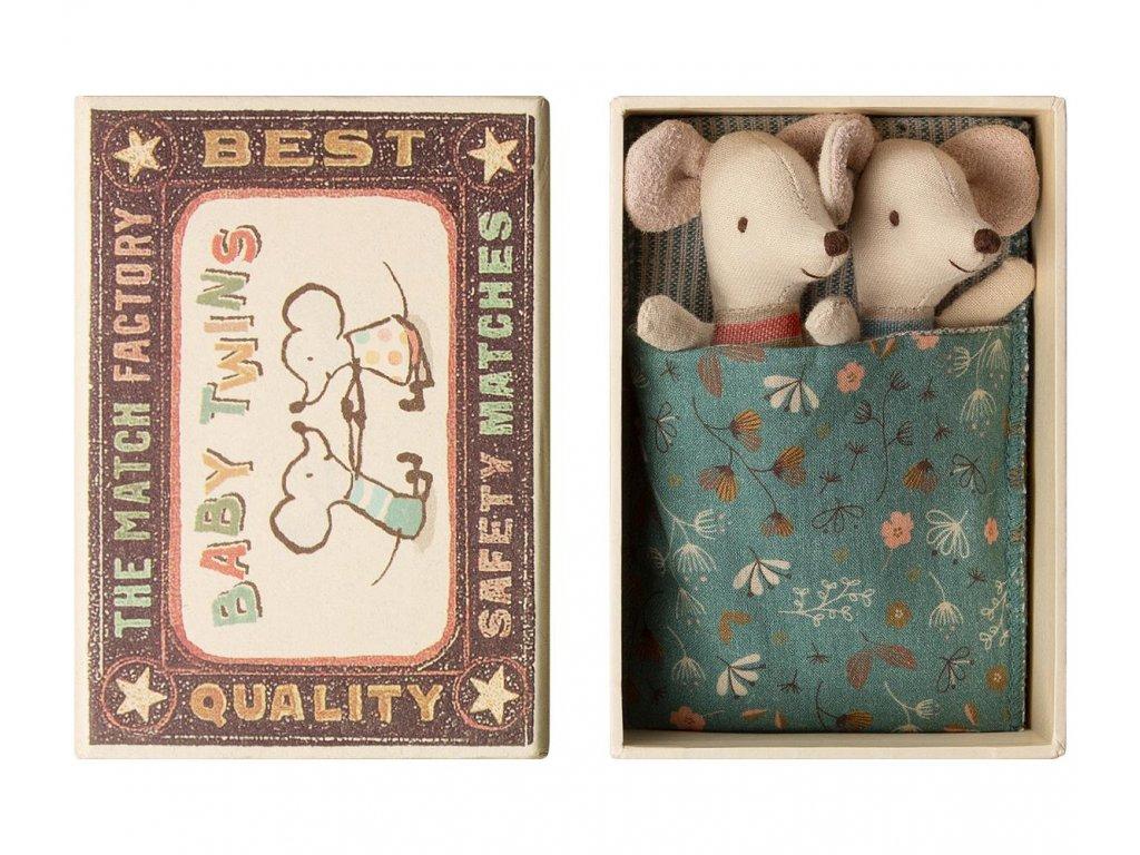 Maileg Myšky v krabičce od sirek - dvojčátka