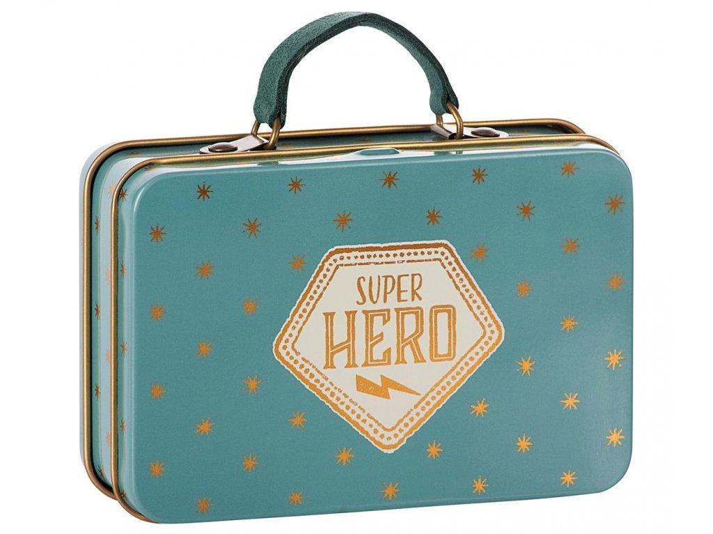 Maileg Plechový kufřík modrý s hvězdami