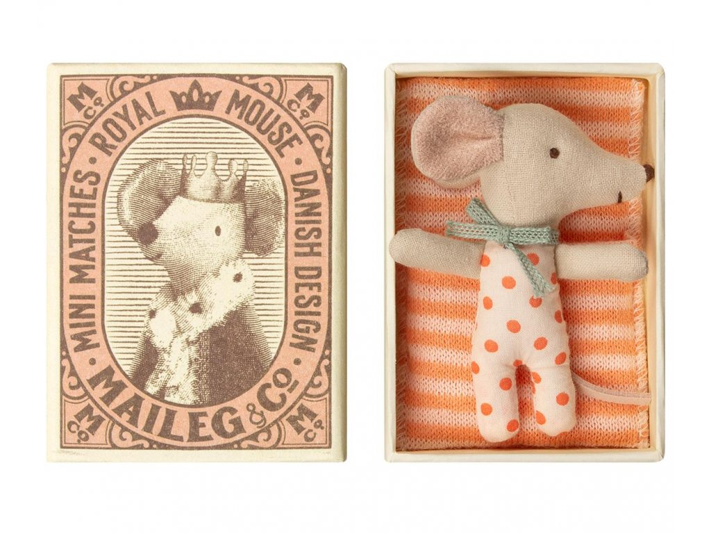 Maileg Myška v krabičce od sirek - miminko holčička