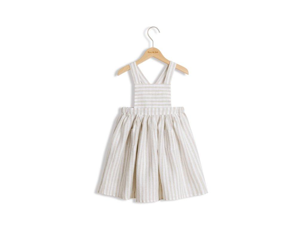 Roe&Joe Lněné šaty N°3 - přírodní proužky