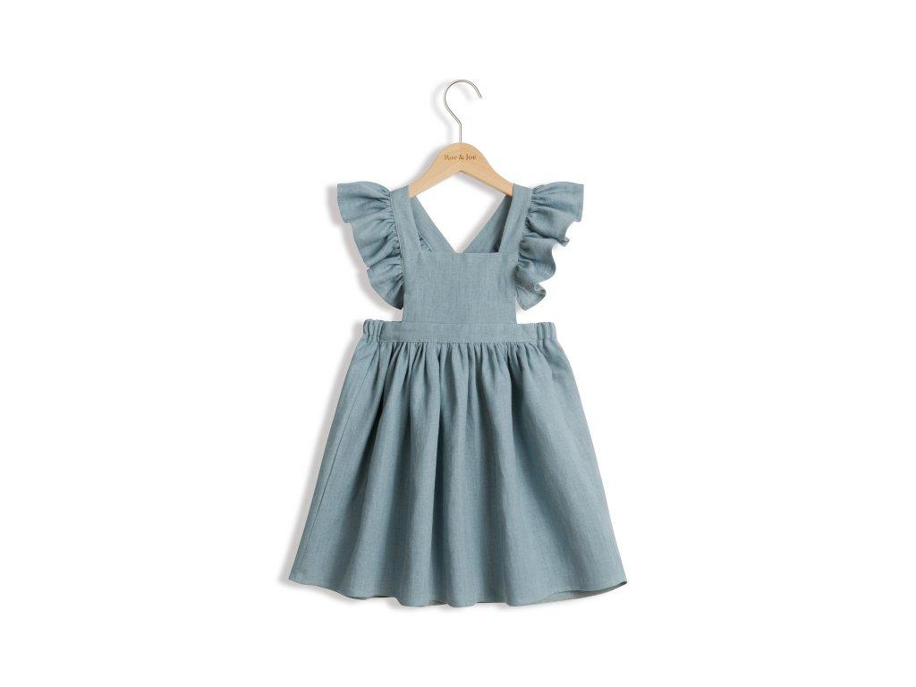 Roe&Joe Lněné šaty N°4 - modrozelené