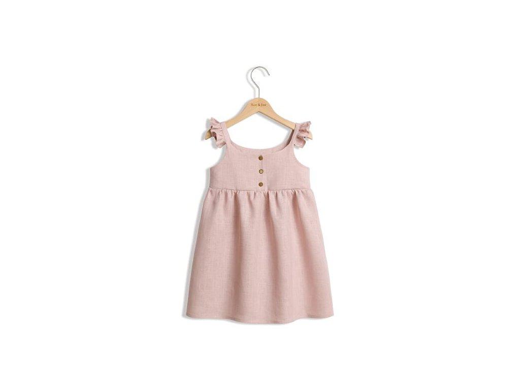 Roe&Joe Lněné šaty N°2 - růžové