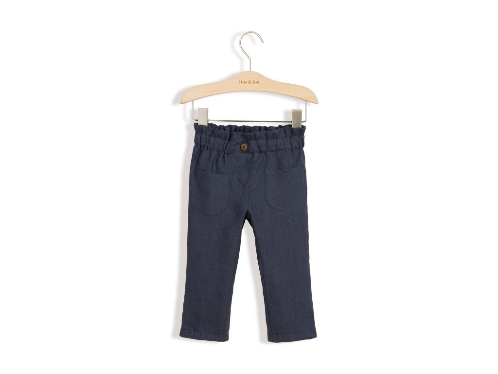 Roe&Joe Lněné kalhoty - námořnická