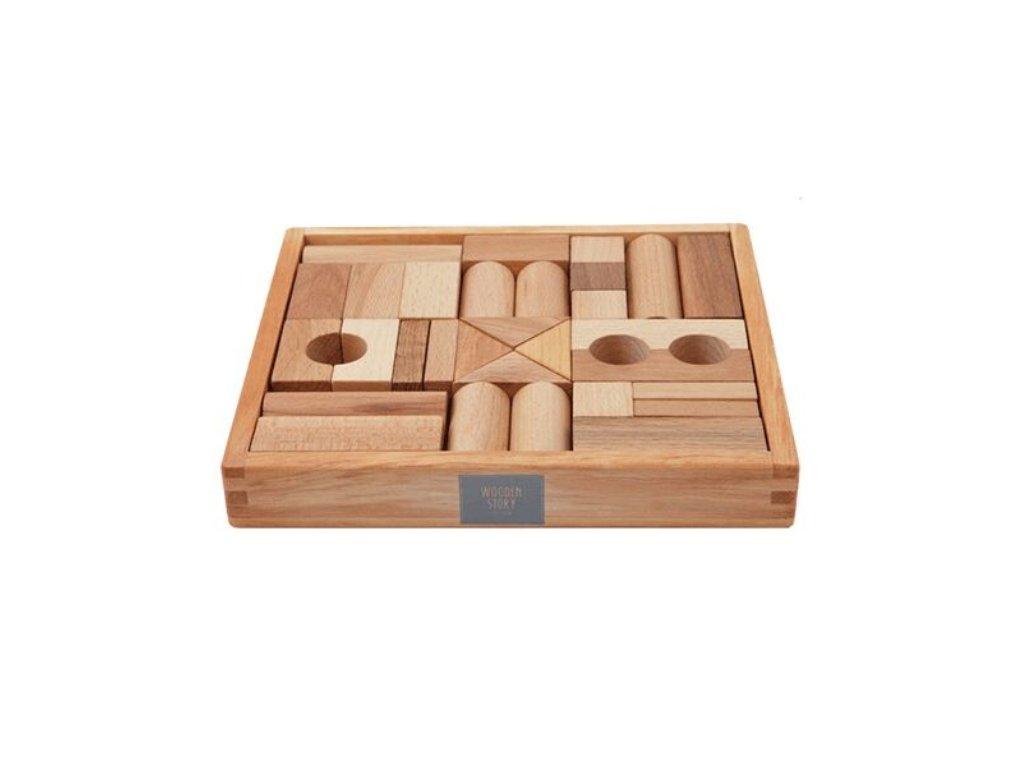 Wooden Story Dřevěné kostky v krabičce 30 ks